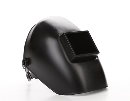 aegis: Black protactive mask. Isolated on a white background Stock Photo