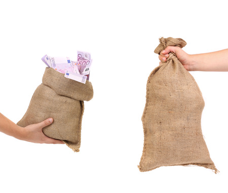 Two bags in hands. Isolated on a white background.