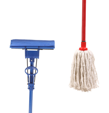 Closeup of red and blue mop for cleaning. Isolated on a white background. photo