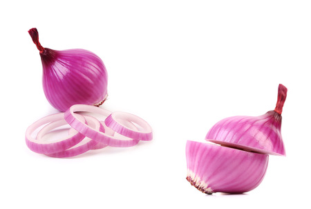 Two chopped and whole violet onion. Isolated on a white background. photo