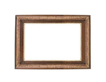 Wooden empty frames isolated on white background photo
