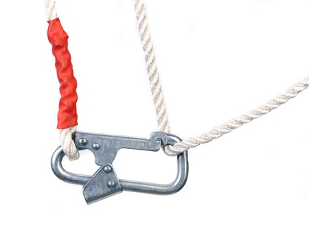 carbine: Carbine on rope. Isolated on a white background.