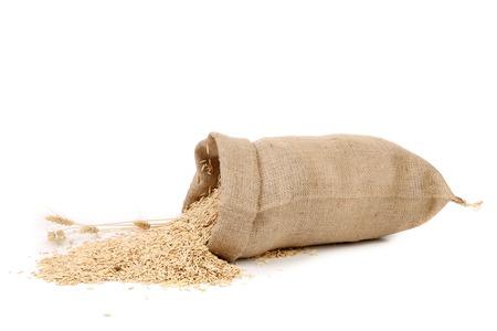 穀物が付いている袋と小麦の耳。白い背景上に分離。