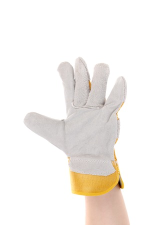 Hand in gloves shows five. Isolated on a white background. photo