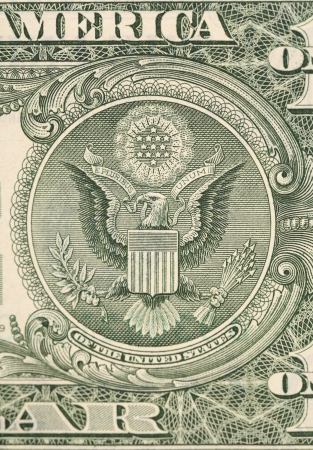 Dollar eagle banknote close up. Whole background. photo