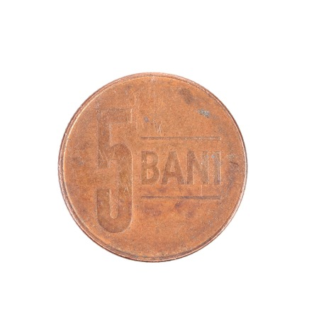 bani: Five bani coin. Isolated on a white background.