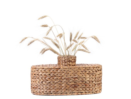spliced: Wicker vase with wheat ears. Isolated on a white background.