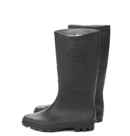 Pair high rubber boots. Isolated on a white background. photo