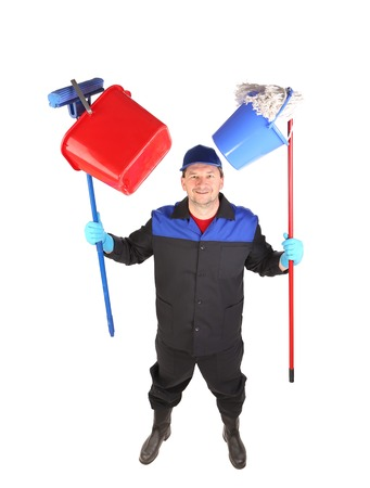 scour: Man holding cleaning supplies. Isolated on a white background.