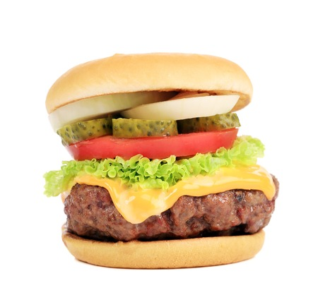 Big appetizing fast food hamburger. Isolated on a white background.