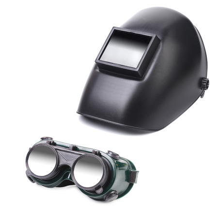 blacked: Welding mask and glasses