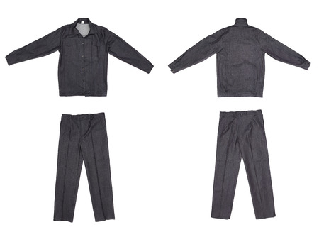 Pair of green work wear. Isolated on a white .