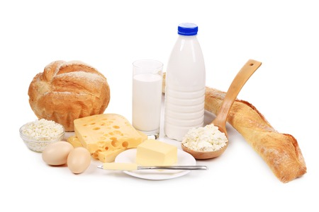 Healthy breakfast products. Isolated on a white . Stock Photo