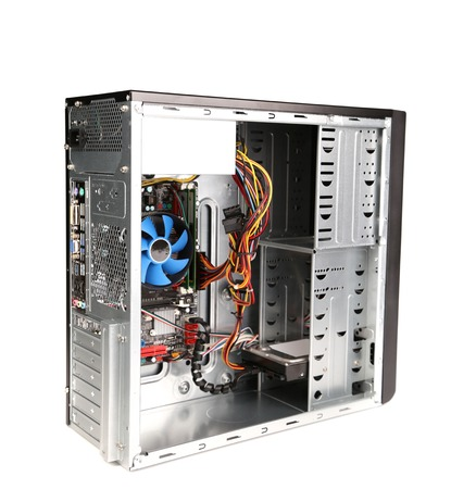 Opened computer system unit. Isolated on a white background. photo