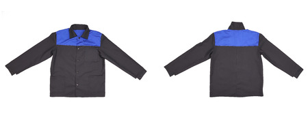 Blue-black jacket back and front view. Isolated on a white background. photo