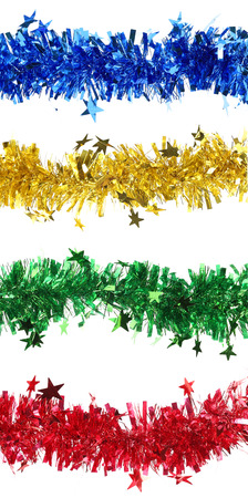horisontal: Christmas tinsel with stars collage. Horisontal. Whole background.