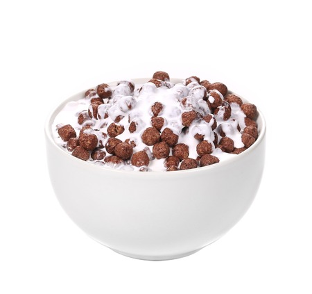 Cereal breakfast for kids. Isolated on a white background. photo