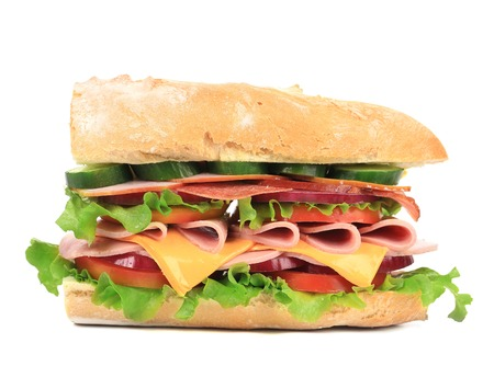 Fresh sandwich. Isolated on a white background. photo