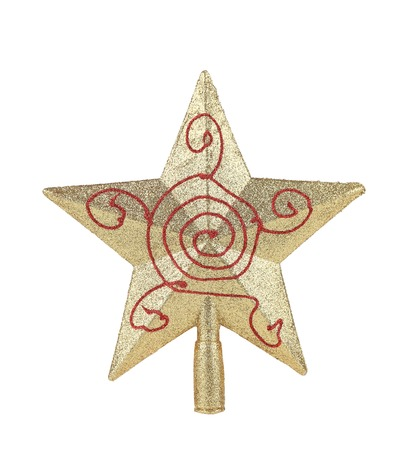 Silver star christmas decoration. Isolated on a white background. photo