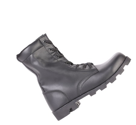 Black man's boot. Side view. Isolated on a white background. photo