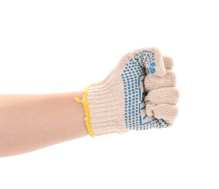 Strong male worker hand glove clenching fist  Isolated on a white background  photo