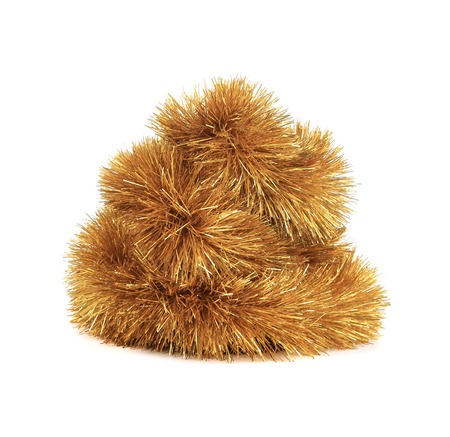 hristmas: Bunch of hristmas golden tinsel. Isolated on a white background.
