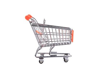 pushcart: Shopping supermarket cart. Isolated on a white background.
