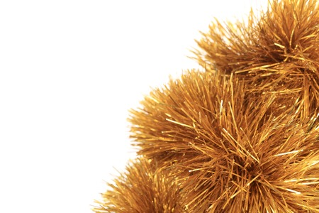 hristmas: Bunch of hristmas golden tinsel. Whole background. Stock Photo