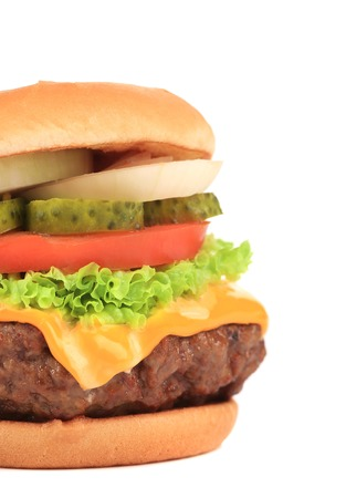 Big appetizing hamburger. Close up. Whole background. photo