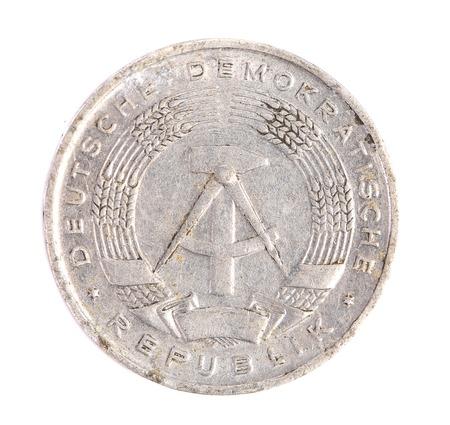 deutschemarks: Deutsche democratische republik coin. Isolated on a white background.