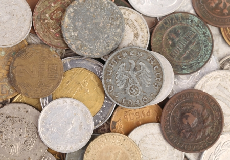 Close up of old coins. Whole background. photo