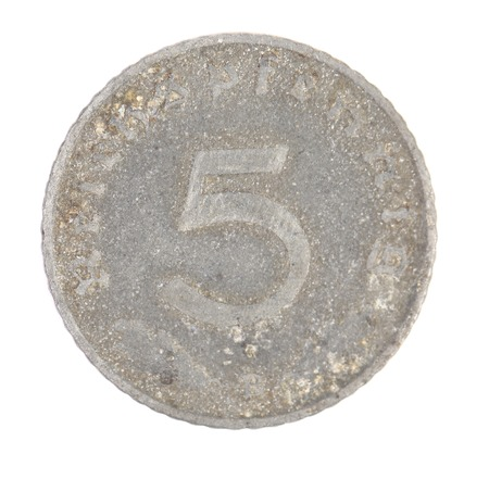 deutschemarks: German 5 coin. Front view. Isolated on a white background. Stock Photo