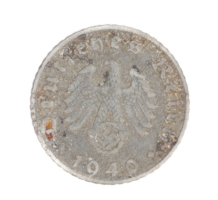 Deutsches coin. Back view. Isolated on a white background. photo
