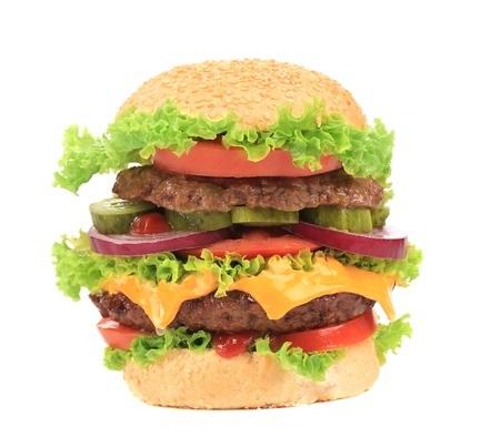 Big appetizing hamburger  Isolated on a white background  photo