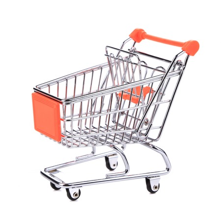 Shopping supermarket cart. Isolated on a white background. photo