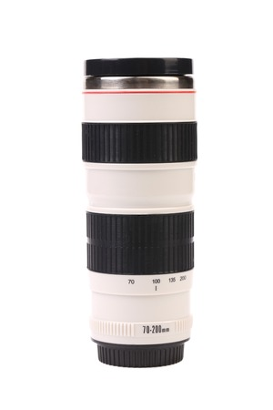 telezoom: Vacuum flask as telezoom. Isolated on a white background. Stock Photo