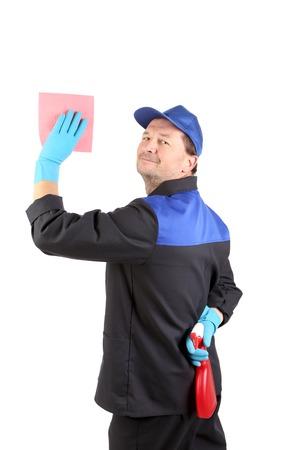 Man holds spray bottle and sponge. Stock Photo