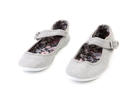 Gray summer girl shoes. Isolated on a white background. photo