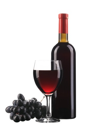 Grapes and red wine composition. Isolated on a white background. photo
