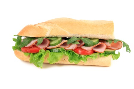 French baguette fresh sandwich. Isolated on a white background. photo