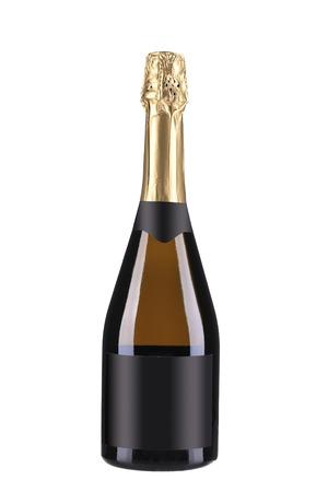 Bottiglia di champagne. Isolato su uno sfondo bianco.