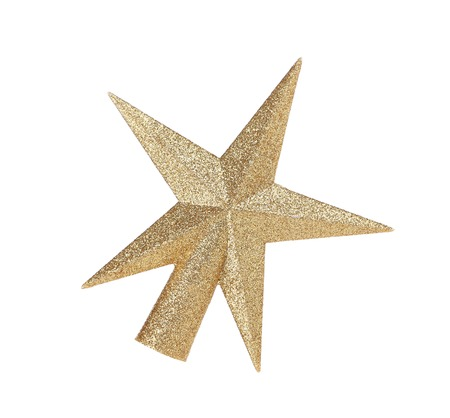 glitzy: Silver star christmas decoration. Isolated on a white background.