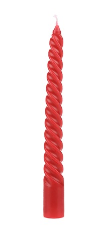Red spiral candle. Isolated on a white background. Stock Photo