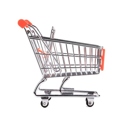convenience: Shopping supermarket cart. Isolated on a white background.