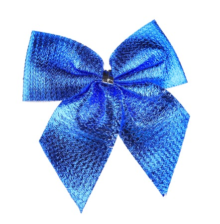 Blue bow made of ribbon. Isolated on a white background. photo