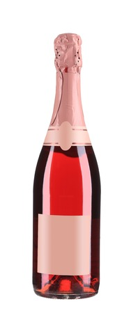Close up of pink champagne bottle. Isolated on a white background.