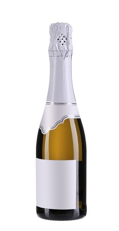 Close up of champagne bottle. Isolated on a white background. photo