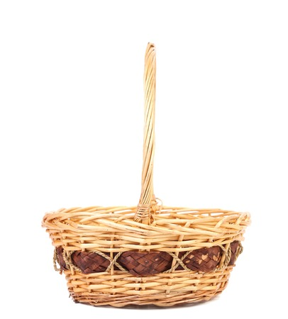 cepelia: Close up of wicker basket. Isolated on a white background. Stock Photo