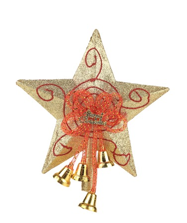 Golden star christmas decoration. Isolated on a white background. photo