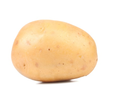 Yellow potato close up. Isolated on a white background. Stock Photo